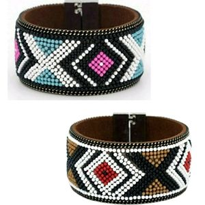 2 New Wide Magnetic Boho Bracelet with Beads